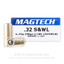32 S&W Long Ammo For Sale - 98 gr Lead Wadcutter Magtech 32 S&W Long Ammunition For Sale - 50 Rounds