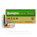 40 Cal Ammo For Sale - 165 gr JHP Remington Golden Saber 40 cal Ammunition In Stock
