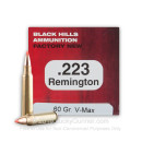 Premium 223 Rem Ammo For Sale - 60 Grain V-Max Poylmer Tip Ammunition in Stock by Black Hills - 50 Rounds