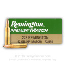 Premium 223 Rem Match Ammo For Sale - 62 gr HP Ammunition In Stock by Remington Premier Match - 20 Rounds