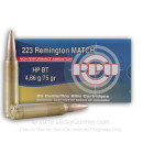 Bulk 223 Rem Ammo For Sale - 75 Grain HPBT Match Ammunition in Stock by Prvi Partizan - 1000 Rounds