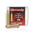 22 WMR Ammo For Sale - 30 gr V-MAX Varmint Ammo by Hornady - Hornady 22 Magnum Rimfire Ammunition In Stock - 50 Rounds