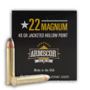 22 Magnum Ammo For Sale - 40 gr JHP - Armscor 22 Magnum Rimfire Ammunition In Stock - 500 Rounds