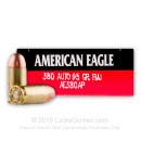 380 Auto Ammo In Stock - 95 gr FMJ - 380 ACP Ammunition by Federal American Eagle For Sale - 1000 Rounds