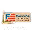 Premium 223 Rem Ammo For Sale - 55 Grain HP Match Ammunition in Stock by Hornady Frontier - 20 Rounds