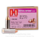 38 Special Defense Ammo For Sale - 90 gr JHP FTX Hornady Critical Defense Lite Ammunition In Stock - 25 Rounds