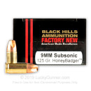 Premium 9mm Ammo For Sale - 125 Grain HoneyBadger Ammunition in Stock by Black Hills - 20 Rounds