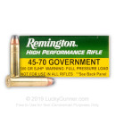 Premium 45-70 Government Ammo For Sale - 300 Grain SJHP Ammunition in Stock by Remington High Performance Rifle - 20 Rounds