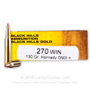 Premium 270 Ammo For Sale - 130 Grain Hornady GMX Ammunition in Stock by Black Hills Gold - 20 Rounds