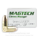 Cheap 9mm Luger Ammo For Sale - 124 gr FEB - Magtech Clean Range Ammunition In Stock - 50 Rounds
