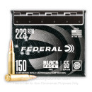 Cheap 223 Rem Ammo For Sale - 55 Grain FMJ Ammunition in Stock by Federal Black Pack - 150 Rounds