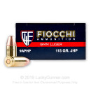 9mm Ammo For Sale - 115 gr JHP - Reloadable Fiocchi Ammunition Online