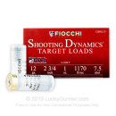 "Cheap 12 Gauge Ammo For Sale - 2 3/4"" 1 oz. #7.5 Shot Ammunition in Stock by Fiocchi Target Shooting Dynamics - 25 Rounds"