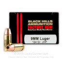 Premium 9mm Luger Ammo For Sale - 124 Grain JHP Ammunition in Stock by Black Hills - 20 Rounds