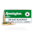 Bulk 300 AAC Blackout Ammo - Remington UMC 120 Grain OTFB - 200 Rounds
