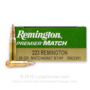 Premium 223 Rem Match Ammo For Sale - 69 gr BTHP Ammunition In Stock by Remington Premier Match - 20 Rounds