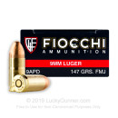 9mm - 147 gr FMJ - Fiocchi - 1000 Rounds