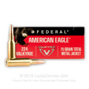 Cheap .224 Valkyrie Ammo For Sale - 75 Grain TMJ Ammunition in Stock by Federal American Eagle - 20 Rounds