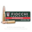 Cheap 308 Ammo For Sale - 150 gr PSP - Fiocchi Ammo Online - 20 Rounds