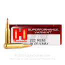 Cheap 222 Rem Ammo For Sale - 50 gr V-Max - Hornady Superformance Varmint Ammo Online - 20 Rounds