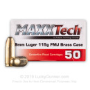 Cheap 9mm Ammo For Sale - 115 Grain FMJ Ammunition in Stock by MAXXTech Brass - 1000 Rounds