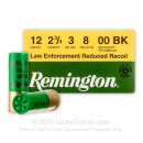 "Cheap 12 Gauge Ammo For Sale - 2-3/4"" Reduced Recoil 00 Buck Ammunition in Stock by Remington - 25 Rounds"