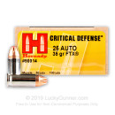 Premium 25 ACP Ammo For Sale - 35 Grain FTX Ammunition in Stock by Hornady Critical Defense - 25 Rounds