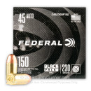 Cheap 45 ACP Ammo For Sale - 230 Grain FMJ Ammunition in Stock by Federal Black Pack - 150 Rounds