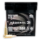 Cheap 224 Valkyrie Ammo For Sale -  75 Grain TMJ Ammunition in Stock by Federal Black Pack - 100 Rounds