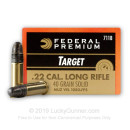Premium 22 LR Ammo For Sale - 40 Grain Solid Point Ammunition in Stock by Federal Gold Medal Target - 50 Rounds