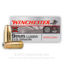 9mm Ammo - 115 gr FMJ - Winclean Ammunition - 50 Rounds