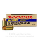 Cheap 40 S&W Ammo For Sale - 165 Grain JHP Ammunition in Stock by Winchester Ranger - 50 Rounds