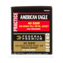 .40 S&W Ammo - Federal American Eagle Combo 180gr FMJ/JHP - 120 Rounds