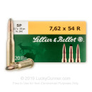 Brass Cased 7.62x54R Ammo In Stock - 180 gr SP - 7.62x54r Ammunition by Sellier & Bellot For Sale - 20 Rounds