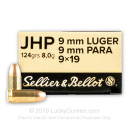 Cheap 9mm Ammo For Sale - 124 Grain JHP Ammunition in Stock by Sellier & Bellot - 50 Rounds