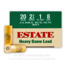 "Cheap 20 Gauge Ammo For Sale - 2-3/4"" #8 Shot Ammunition in Stock by Estate Cartridge Heavy Game Load - 25 Rounds"
