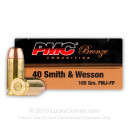 Cheap 40 S&W Ammo For Sale - 165 gr FJMJ Ammunition by PMC In Stock - 50 Rounds
