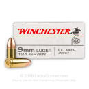 9mm Ammo - 124 gr FMJ - WinUSA Ammunition - 50 Rounds