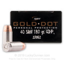 40 S&W Defense Ammo In Stock - 180 gr JHP - 40 Smith and Wesson Ammunition by Speer Gold Dot For Sale - 20 Rounds