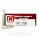 204 Ruger Ammo In Stock  - 32 gr V-MAX - Hornady 204 Ruger Ammunition For Sale Online