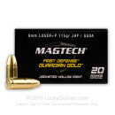 9mm Luger Ammo For Sale - 115 gr +P JHP Magtech Guardian Gold Defense Ammunition In Stock