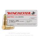 Cheap 7.62x25mm Tokarev Ammo For Sale - 85 Grain FMJ Ammunition in Stock by Winchester Metric Calibers - 50 Rounds