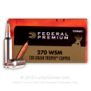 Premium 270 WSM Ammo For Sale - 130 Grain Trophy Copper Ammunition in Stock by Federal Vital-Shok - 20 Rounds