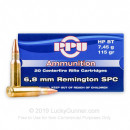 Cheap 6.8 SPC Ammo For Sale - 115 Grain HP Boat Tail Ammunition in Stock by Prvi Partizan - 20 Rounds