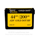 Premium 44 Cal Bullets For Sale - Bonded JHP 200 Grain Bullets in Stock by Speer Gold Dot - 100 Bullets