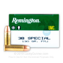 38 Special Ammo For Sale - 130 gr MC - Remington UMC Ammunition - 50 Rounds