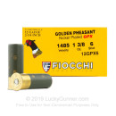 """Premium12 Gauge Ammo For Sale - 2-3/4"""" 1-3/8 oz. #6 Shot Ammunition in Stock by Fiocchi Golden Pheasant Nickel Plated GPX- 25 Rounds"""