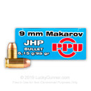 Cheap 9mm Makarov (9x18mm) Ammo For Sale - 95 gr JHP Prvi Partizan Ammunition For Sale - 50 Rounds