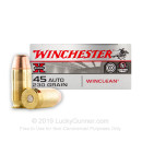 Cheap 45 ACP Ammo For Sale - 230 Grain BEB Ammunition in Stock by Winchester WinClean - 50 Rounds - LE Trade-In