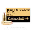 Cheap 10mm Ammo For Sale - 180 Grain FMJ Ammunition in Stock by Sellier & Bellot - 50 Rounds